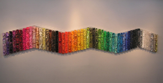 Trash art - Recycled plastic and found objects sculptures by Diana Boulay - Title: Archives