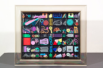 Trash art - Recycled plastic and found objects sculptures by Diana Boulay - Title: Trinkets